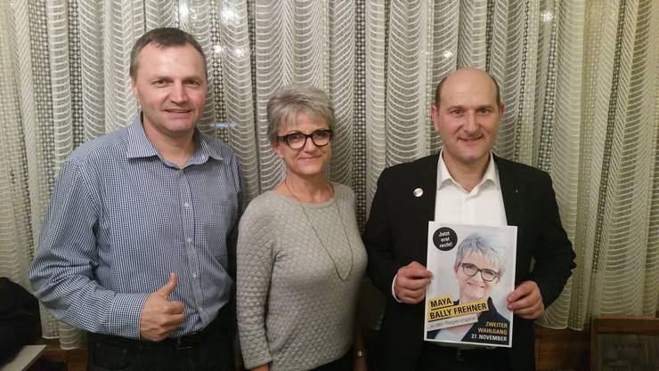 Die Plakate und das Konzept für den zweiten Wahlgang hat die BDP schon: Wahlkampfleiter Bernhard Guhl, Kandidatin Maya Bally und Präsident Roland Basler (von links) sind zuversichtlich, was die Chancen angeht.