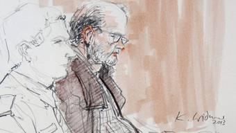 Peter Hans Kneubühl auf einer Gerichtszeichnung von Karin Widmer