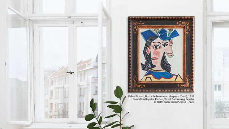 Das Werk Picassos, Buste de femme au chapeau (Dora), wird für einen Tag in einem Wohnzimmer hängen.