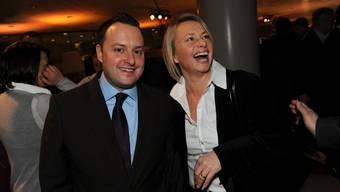 Lobbying hat auch seine lustigen Seiten: Sebastian Frehner und Elisabeth Schneider-Schneiter