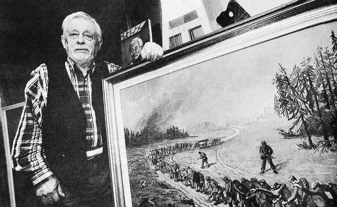 Sein Leben lang malte der Schweizer KZ-Überlebende Gino Pezzani als Augenzeuge Gräueltaten wie diesen Todesmarsch. Bild: Bruno Schlatter/Tamedia