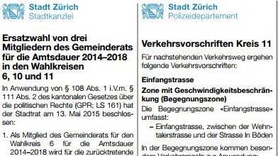 Neu soll die Rechtsverbindlichkeit in der Stadt Zürich explizit auf der elektronischen Publikation liegen.
