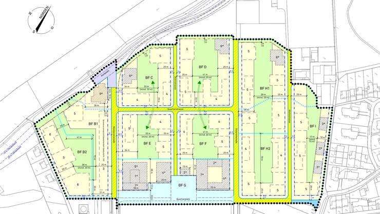 Mit dem Gestaltungsplan «Riverside» werden die Baufelder definiert, die jeweils einen Siedlungsfreiraum (grün) beinhalten. Für einzelne Gebäude sind bereits einige Kriterien definiert. Das rot schraffierte Hochhaus am Aareplatz wird 9-stöckig. Auch für die blau schraffierten Gebäude ist die Anzahl Stockwerke definiert.