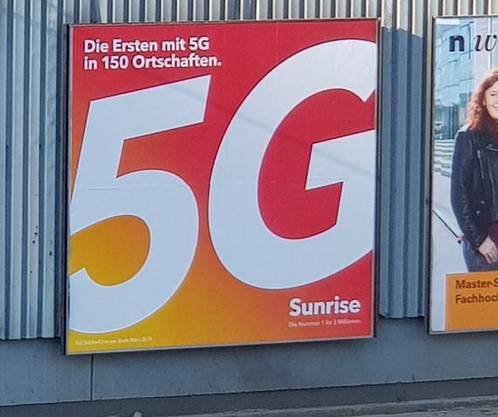 Sunrise wirbt in Zürich für das kommende 5G-Netz.