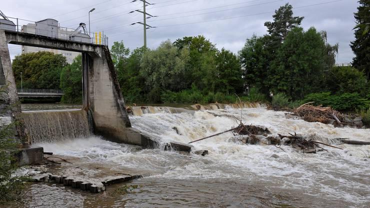 So sah es nach dem letzten schlimmen Hochwasser beim Wehr in Biberist aus.