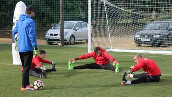 Das Goalie-Trio Ulisse Pelloni (r.), Lorenzo Bucchi (M.) und Nachwuchsmann Lars Hunn besprechen sich während des Dehnens im Trainingslager in Marbella mit ihrem Torhüter-Trainer Swen König.
