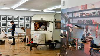 Die neue Sommerausstellung im Kunstmuseum Olten während des Aufbaus. Im Hintergrund links Künstler Jan Hostettler.