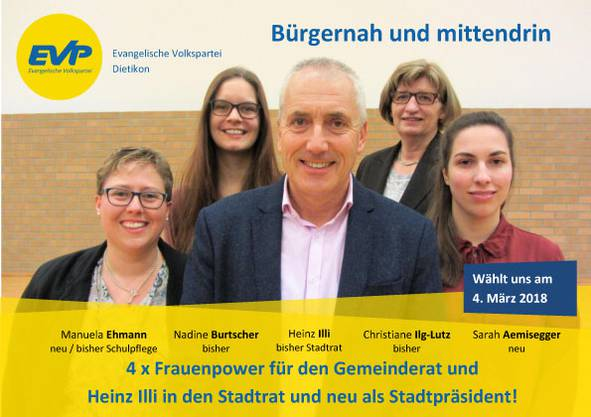 Heinz Illi, Kandidat für den Stadtrat und als Stadtpräsident, mit den Gemeinderatskandidatinnen Manuela Ehmann, Nadine Burtscher, Chris Ilg-Lutz und Sarah Aemisegger