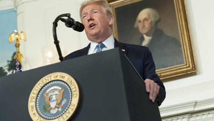 US-Präsident Donald Trump sagte am Montag im Weissen Haus  kein Wort über die Notwendigkeit strengerer Waffengesetze.