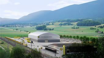 Das Recycling Center ist beim westlichen Dorfeingang bei der Bahnlinie geplant. (Illustration)