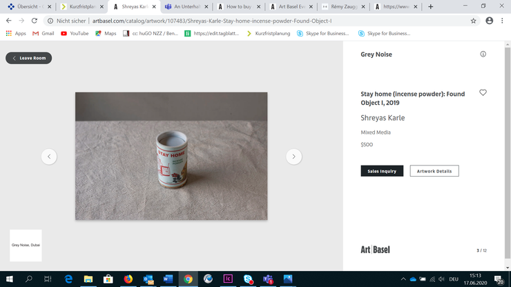 Das Kostet nur 500 Dollar: «Stay home (incense powder): Found Object» von Shreyas Karle bei Grey Noise.