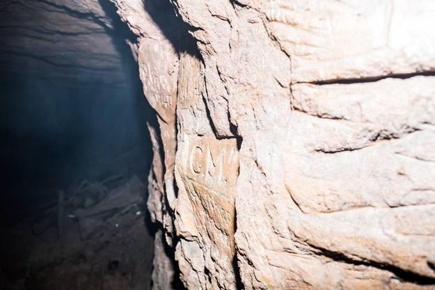 Inschriften von Bergwerk Arbeiter.
