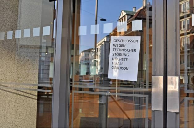 An der Tür steht: «Geschlossen wegen technischer Störung»