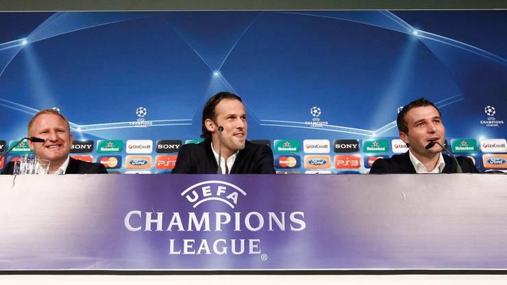 Heiko Vogel, Marco Streller und Alex Frei (v.l.) wollen nur eines: In die Champions League