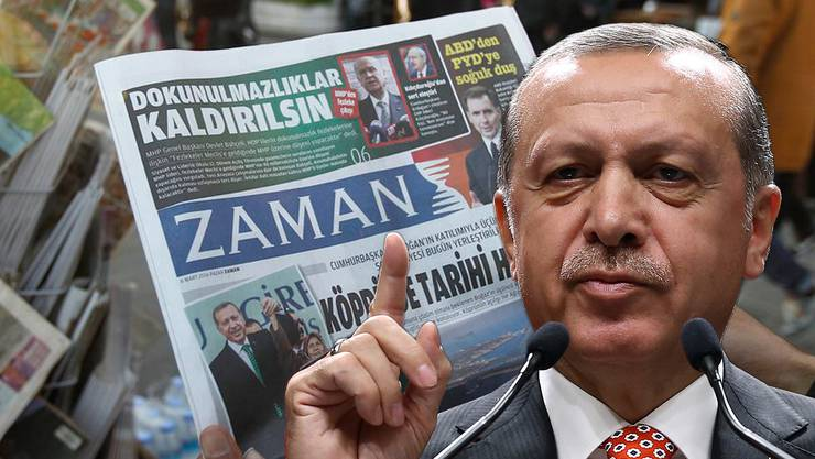 Erdogan schliesst 45 Zeitungen und lässt 47 frühere Mitarbeiter der Zeitung Zaman verhaften.