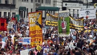 Demonstranten in New York fordern einen besseren Klimaschutz