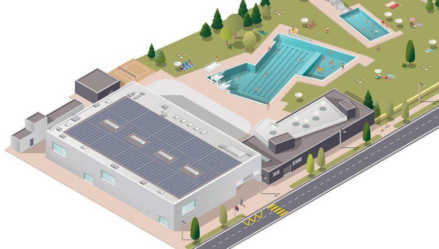 So sieht die geplante Fotovoltaikanlage auf dem Dach des Eissportzentrums aus. Bild: zVg