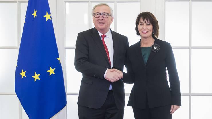 EU-Kommissionspräsident Jean-Claude Juncker ist zu Gesprächen in Bern eingetroffen.