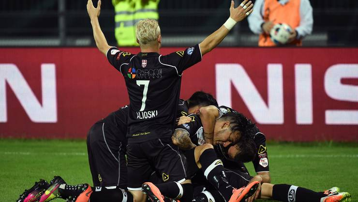 Grenzenloser Jubel beim FC Lugano.