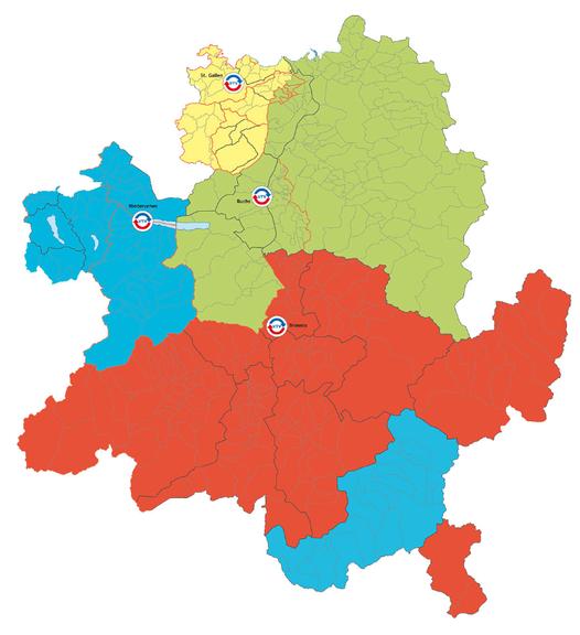 Das Einzugsgebiet des VTV umfasst neben den Ostschweizer Kantonen auch das Fürstentum Liechtenstein und den Vorarlberg. (Grafik: vtvostschweiz.ch)