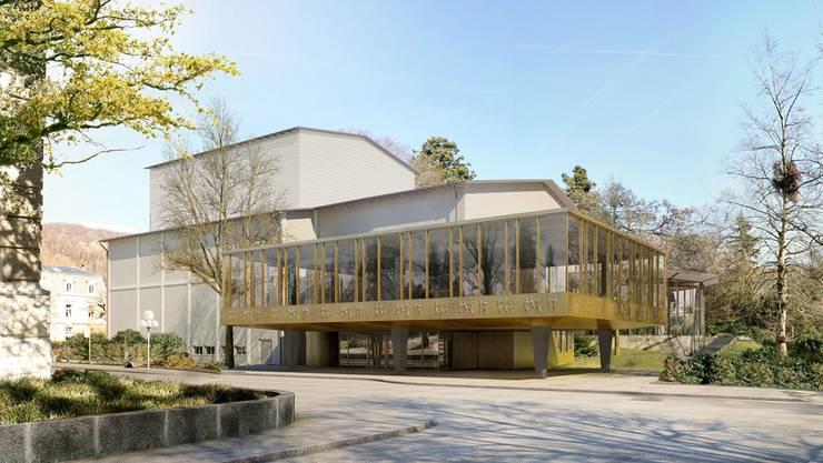 So wird das Badener Kurtheater in Zukunft aussehen. Obersiggenthal beteiligt sich finanziell nicht am Umbauprojekt