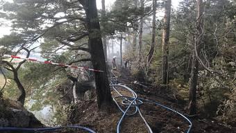 In einem abgelegenen Waldstück im Kanton Jura brach am Sonntagnachmittag ein Brand aus. Weil die Stelle für die Feuerwehrleute schwer zugänglich war, wurde auch ein Löschhelikopter eingesetzt.