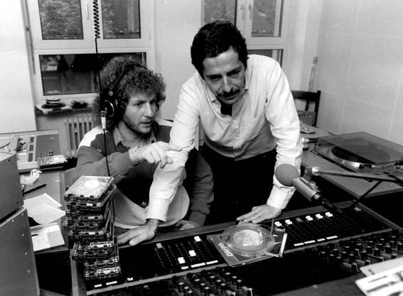 Roger Schawinski und Moderator Walti Lutz in Zürich, 1983