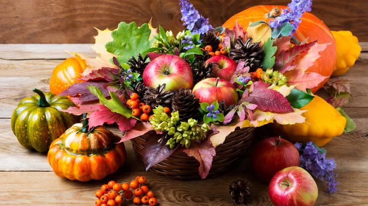 Bunte Herbstblüten und feine Früchte