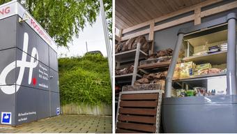 Foodsharing-Boxen vor dem Supermarkt: Bald sollen Kunden in allen zehn Hieber-Filialen Ware, die nicht mehr verkauft werden darf, kostenlos mitnehmen können.
