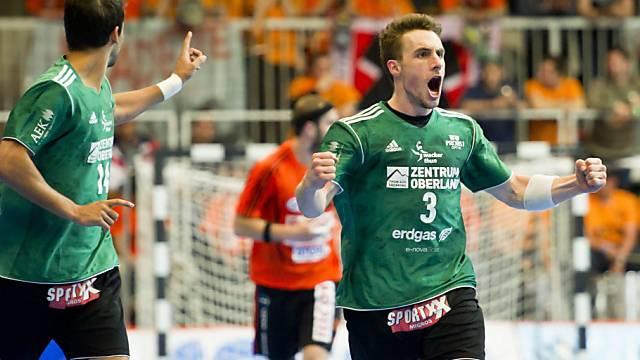 Luca Linder jubelt nach einem Treffer von Wacker Thun