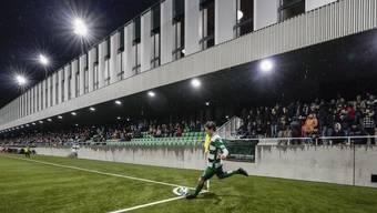 Blick auf die Haupttribüne im neuen Stadion Kleinfeld in Kriens