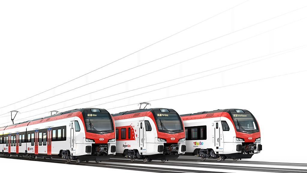 Visualisierung der neuen S-Bahn-Züge der SBB des Typs Flirt. Hergestellt werden die bestellten 286 Fahrzeuge von Stadler Rail in Bussnang TG.
