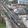 Blick auf den Bahnhof Wildegg.
