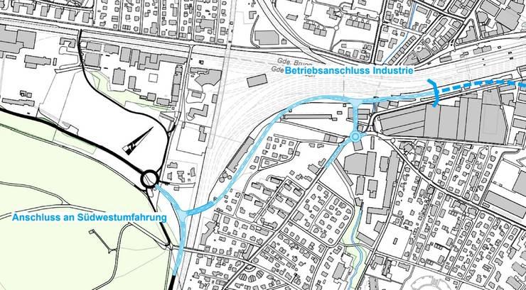 Im Abschnitt Süd wird die geplante – offen geführte – Zentrumsentlastung an die Südwestumfahrung Brugg angebunden. Bei den Kabelwerken ist ein Betriebsanschluss Industrie vorgesehen.