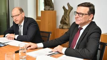 Finanzchef Thomas Huber (l.) und CEO Walter Wirth liefern die Zahlen.
