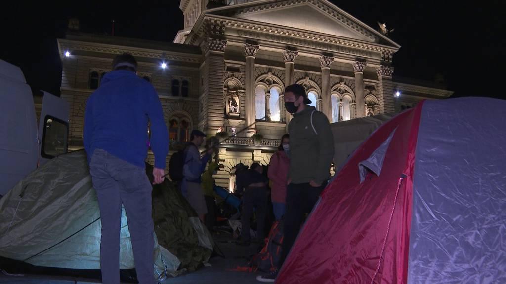 «Klima-Camp» auf Bundesplatz: Aktivisten wollen eine Woche bleiben