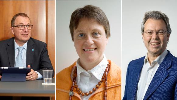v.l.: Kirchenratspräsident Michel Müller, Herausforderin Gina Schibler und Herausforderer Marcus Maitland.