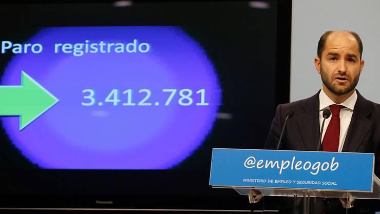 3,4 Millionen Menschen: Staatssekretär Juan Pablo Riesgo konnte über so tiefe Dezember-Arbeitslosenzahlen berichten wie seit Jahren nicht mehr.