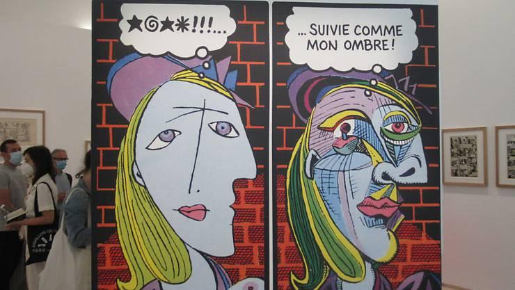 Im Pariser Picasso-Museum wird die Ausstellung «Picasso et la bande dessinée» (Picasso und der Comic) gezeigt. Foto: Sabine Glaubitz/dpa - ACHTUNG: Nur zur redaktionellen Verwendung im Zusammenhang mit einer Berichterstattung über die Ausstellung