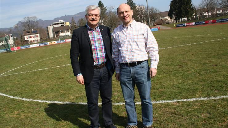 Eingespieltes Team: Franco Giori vom Sportverein (l.) und Martin Näf vom Turnverein sind die OK-Vizepräsidenten der faustball euro 2014.