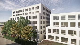 Platz für über 50 neue Mieter auf sieben Etagen bietet der Erweiterungsbau in Reinach (links). Rechts ist das bisherige Business Parc-Gebäude zu sehen, das die Stiftung 2007 erworben hat.
