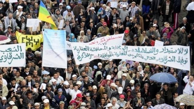 Demonstrierende in Casablanca
