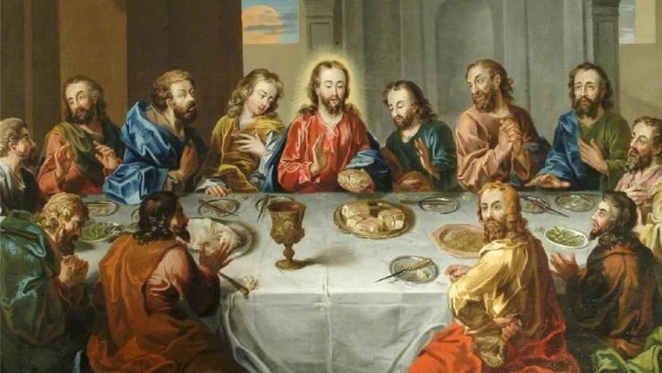 Jesus, umringt von Aposteln: So stellte sich der englische Maler Stephan Elmer 1765 das letzte Abendmahl vor.
