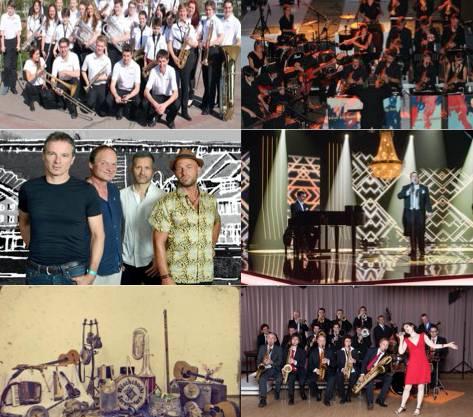 von oben rechts nach unten links: - Windband - Kanti Big Band - Ueli Schmezer's MatterLive - Reto und Dominique - Wöschchuchi Serenaders - Ambassador Big Band