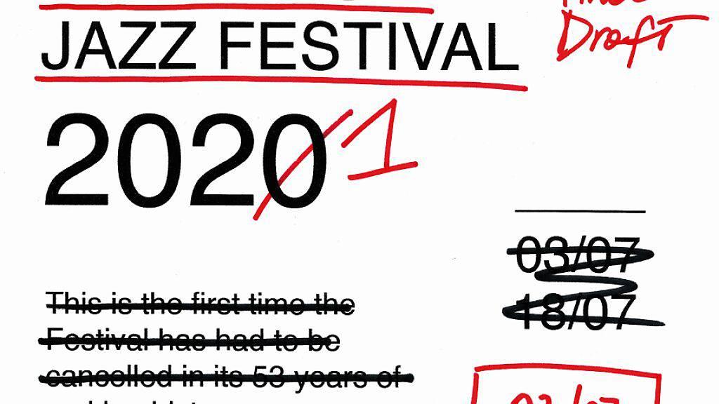 Das Plakat für die 55. Ausgabe des Montreux Jazz Festivals: Die Künstlerin Valeria Pernice verwandelt die Absage im letzten Jahr in das Versprechen, dass das Festival dieses Jahr ins Leben zurückkehrt.