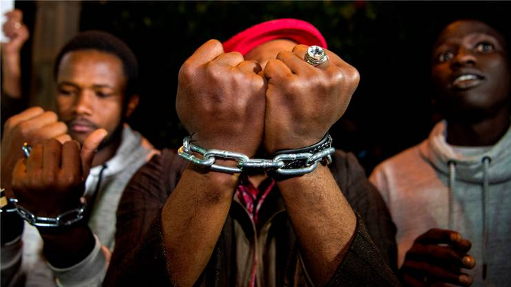 Proteste gegen die «Sklaverei in Libyen»: Hier vor der libyschen Botschaft in der marokkanischen Hauptstadt Rabat.