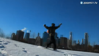 Snowboarden mitten in Manhattan