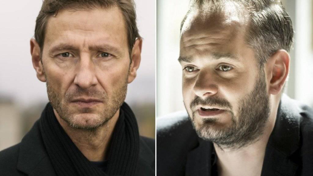 Der Zürcher Jonas Lüscher (r) und der in Genf lebende Christoph Höhtker (l) sind auf der Longlist für den Deutschen Buchpreis. (Archivbilder)