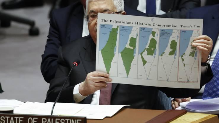 """Der US-Plan würde aus seinem Land einen """"Schweizer Käse"""" machen, sagte Palästinenserpräsident Mahmud Abbas vor dem Uno-Sicherheitsrat."""
