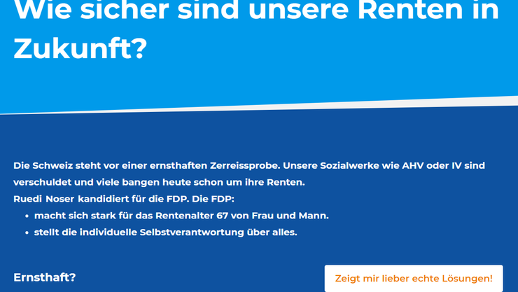 Die CVP-Seite zu FDP-Ständerat Ruedi Noser (ZH).